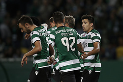 October 22, 2017 - Lisbon, Portugal - Sporting's midfielder Marcos Acuna (R) celebrates his goal with his teammates  during Primeira Liga 2017/18 match between Sporting CP vs GD Chaves, in Lisbon, on October 22, 2017. (Credit Image: © Carlos Palma/NurPhoto via ZUMA Press)