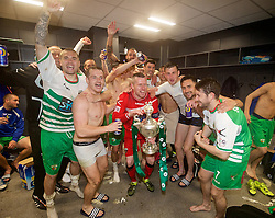 WREXHAM, WALES - Monday, May 2, 2016: The New Saints' captain goalkeeper Paul Harrison celebrates with his team-mates after the 2-0 victory over Airbus UK Broughton during the 129th Welsh Cup Final at the Racecourse Ground. Kai Edwards, Phil Baker, Aaron Edwards, goalkeeper Paul Harrison, Ryan Brobbel, Christian Sergeant. (Pic by David Rawcliffe/Propaganda)