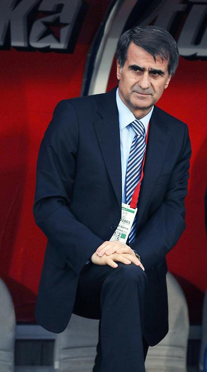 Trabzonspor's coach Senol GUNES during their Turkish superleague soccer match Trabzonspor between Denizlispor at the Avni Aker Stadium in Trabzon Turkey on Monday, 10 May 2010. Photo by TURKPIX
