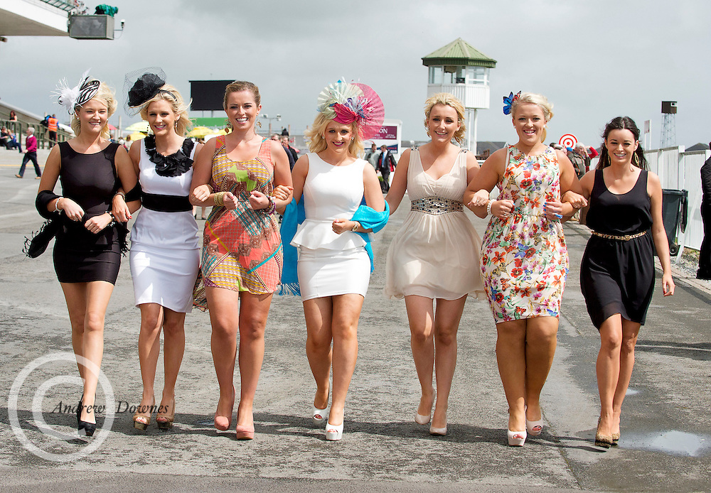 01/08/2012. Galway Girls Sinead Curran, Dee Donoghue, Daniel Sumner, Catherine Holland, Deirdre Conneelly, Sinead Sumner and from Limerick Kate Rohan at the Galway Plate day of the Galway Races.Photo:Andrew Downes
