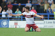 Bradford City midfielder Alex Gilliead (17), on loan from Newcastle United,  fouled  during the EFL Sky Bet League 1 match between Rochdale and Bradford City at Spotland, Rochdale, England on 21 April 2018. Picture by Mark Pollitt.
