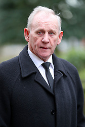 Retired Stoke City player and manager Denis Smith arrives at the funeral service for Gordon Banks at Stoke Minster.