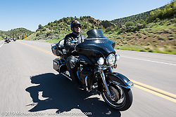 Mike Cherry of Omaha, NE on his 2012 Ultra Limited riding from Steamboat Springs to Doc Holliday's Harley-Davidson in Glenwood Springs during the Rocky Mountain Regional HOG Rally, Colorado, USA. Thursday June 8, 2017. Photography ©2017 Michael Lichter.
