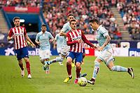 Atletico de Madrid's Koke and Griezmann and Celta de Vigo's Planas during La Liga Match at Vicente Calderon Stadium in Madrid. May 14, 2016. (ALTERPHOTOS/BorjaB.Hojas)