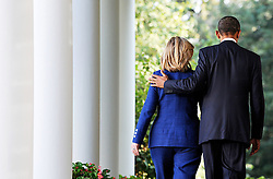 US President Barack Obama holds Secretary of States Hillary Clinton after making a statement to the press in the Rose Garden following meetings with Middle East leaders at the White House in Washington, DC, USA, September 1, 2010. The opening direct talks between Israel and the Palestinians are scheduled to begin September 2, in the State Department. Photo by Olivier Douliery/ABACAPReSS.COM