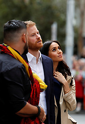 The Duke and Duchess of Sussex visit a mural created by Gunnai and Waradgerie man Robert Young near Mission Australia social enterprise restaurant Charcoal Lane in Melbourne, on the third day of the royal couple's visit to Australia.