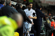 Swansea city's Chico Flores walks off down the tunnel after being sent off.. Barclays Premier league, Swansea city v Crystal Palace match at the Liberty Stadium in Swansea, South Wales on Sunday 2nd March 2014.<br /> pic by Andrew Orchard, Andrew Orchard sports photography.
