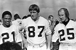 Oakland Raiders receivers Cliff Branch, Dave Casper and Fred Biletnikoff. (1976 photo by Ron Riesterer)