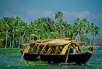 Rice boat (house boat), backwaters near Alappuzha (Alleppey), Kerala, India