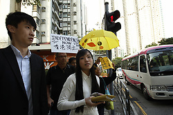 April 28, 2017 - Hong Kong, CHINA - Disqualified lawmakers Baggio Leung ( L ) and Yau Wai-ching ( R ) of the pro-independence political party YOUNGSPIRATION are seen on the street after appearing in court today charged with unlawful assembly and attempted forced entry. 2017, Apr-28. Hong Kong. ZUMA/Liau Chung Ren (Credit Image: © Liau Chung Ren via ZUMA Wire)
