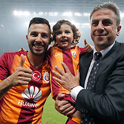 Galatasaray's Coach Hamza Hamzaoglu (R) and Yasin Oztekin (L) celebrate victory during their Turkish Super League derby match Galatasaray between Besiktas at the AliSamiYen Spor Kompleksi TT Arena at Seyrantepe in Istanbul Turkey on Sunday, 24 May 2015. Photo by Aykut AKICI/TURKPIX