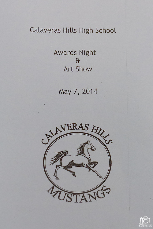 Calaveras Hills High School Awards Night & Art Show program, photographed at Calaveras Hills High School in Milpitas, California, on May 7, 2014. (Stan Olszewski/SOSKIphoto)