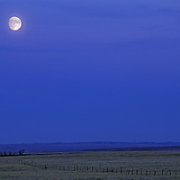 The moon rises over ranchlands in Montana's Missouri Breaks.
