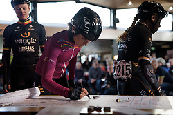 UCI Women's WorldTour leader, Elisa Longo Borghini signs in at Ronde van Drenthe 2017. A 152 km road race on March 11th 2017, starting and finishing in Hoogeveen, Netherlands. (Photo by Sean Robinson/Velofocus)