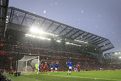 10th December 2017 - Premier League - Liverpool v Everton - Snow falls at Anfield - Photo: Simon Stacpoole / Offside.