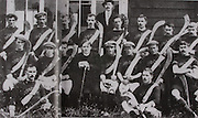 "Kilkenny (Mooncoin)-All-Ireland Hurling Champions 1907. Back Row: Jack Keoghan, Jack Rochfort, Tom Kenny, Dan Stapleton, Danny O'Connell, PAddy ""Icy"" Lannigan, John T Power, Dick Brennan, Sim Walton. Middle Row: Eddie Doyle, Dick Doherty, Mick Doyle, Rev J B Dollard, R ""Drug"" Walsh (capt), Jim Kelly, Dick Doyle, Dan Kennedy. Front Row: Matt Gargan, Jack Anthony. Dick Brennan did not play in final. Dan Grace was absent for photograph. galic football,<br />