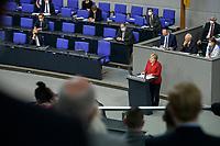 25 AUG 2021, BERLIN/GERMANY:<br /> Angela Merkel (M), CDU, Bundeskanzlerin, waehrend Ihrer Regierungserklaerung zur Lage in Afghanistan, Bundeswehreinsatz zur Evakuierung aus Afghanistan, Plenum, Reichstagsgebaeude, Deutscher Bundestag<br /> IMAGE: 20210825-01-017