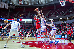 NORMAL, IL - February 22: Antonio Reeves shoots the fade over Jonah Jackson during a college basketball game between the ISU Redbirds and the Drake Bulldogs on February 22 2020 at Redbird Arena in Normal, IL. (Photo by Alan Look)