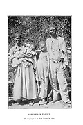 A Bushman Family Photographed in Salt River in 1884 From the book '  Specimens of Bushman folklore ' by Bleek, W. H. I. (Wilhelm Heinrich Immanuel), Lloyd, Lucy Catherine, Theal, George McCall, 1837-1919 Published in London by  G. Allen & Company, ltd. in 1911. The San peoples (also Saan), or Bushmen, are members of various Khoe, Tuu, or Kx'a-speaking indigenous hunter-gatherer groups that are the first nations of Southern Africa, and whose territories span Botswana, Namibia, Angola, Zambia, Zimbabwe, Lesotho and South Africa.