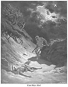 """The Death of Abel (or """"Cain Slays Abel"""") Genesis 4:8-9 From the book 'Bible Gallery' Illustrated by Gustave Dore with Memoir of Doré and Descriptive Letter-press by Talbot W. Chambers D.D. Published by Cassell & Company Limited in London and simultaneously by Mame in Tours, France in 1866"""