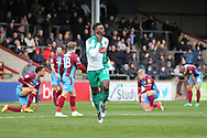 duriGOAL Plymouth Argyll forward Freddie Ladapo (19) scores 1-0 and celebrates ng the EFL Sky Bet League 1 match between Scunthorpe United and Plymouth Argyle at Glanford Park, Scunthorpe, England on 27 October 2018. Pic Mick Atkins