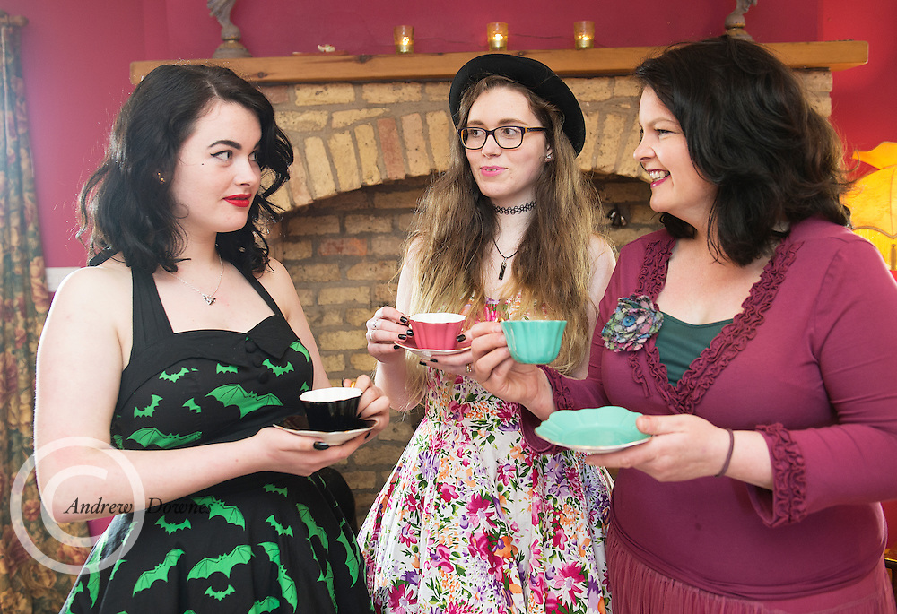 Deirdre Flanagan from teacups and roses who also does airbnb in a caravan by the sea in Clarinbridge.<br /> Daughter    Kate and Anna are also in the picture<br /> Photo:Andrew Downes