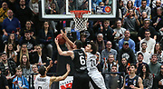 Basketball: 1. Bundesliga, Hamburg Towers - Hakro Merlins Crailsheim 91:92, Hamburg, 29.02.2020<br /> Jan Span (Merlins, l.) -  Michael Carrera (Towers)<br /> © Torsten Helmke