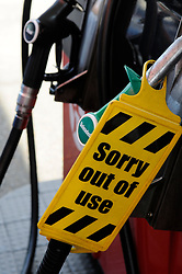 © Licensed to London News Pictures. 29/03/2012. Orpington, UK. An 'out of use' sign on a petrol pump at a Texaco petrol station in Orpington, South London on March 29, 2012. Photo credit : Grant Falvey/LNP
