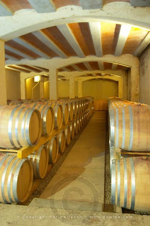 Clos Bagatelle St Chinian. Languedoc. Barrel cellar. France. Europe.