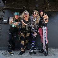L to R: STIX ZADINIA, MICHAEL STARR, LEXXI FOXX, and SATCHEL of Steel Panther at the Viper Room in Los Angeles, California