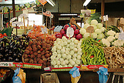 Tel Aviv, Israel, A vegetable stall at the Carmel Market