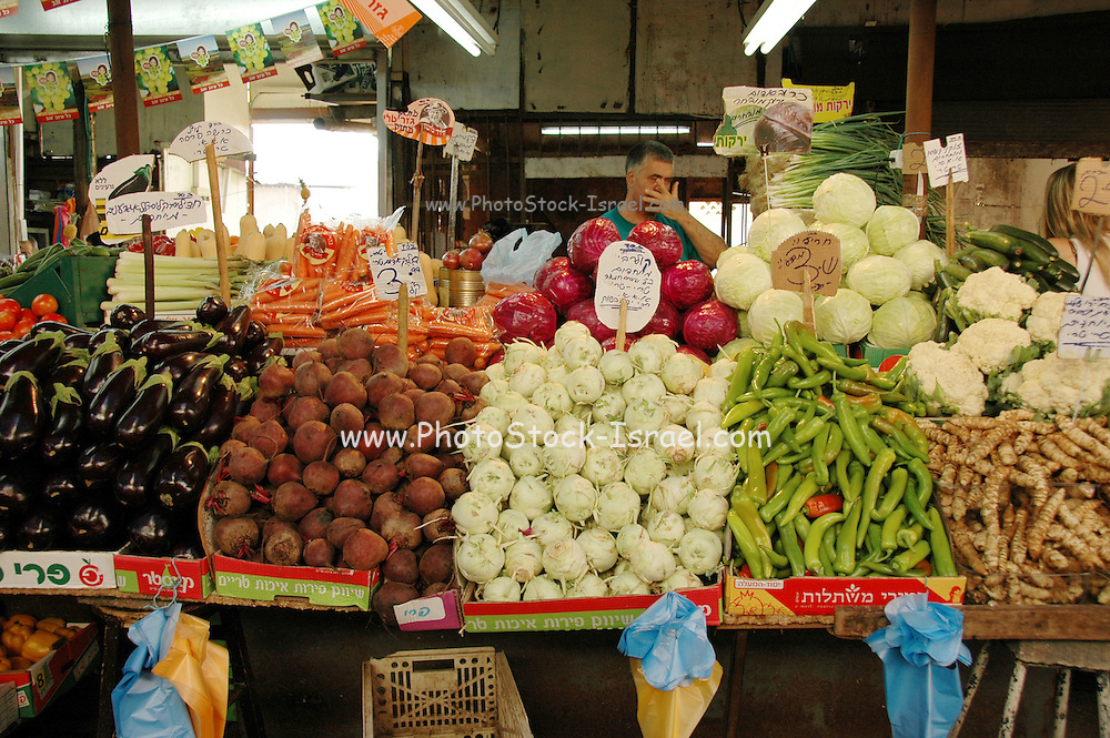 Tel Aviv, Israel, A vegetable stall at the Carmel Market