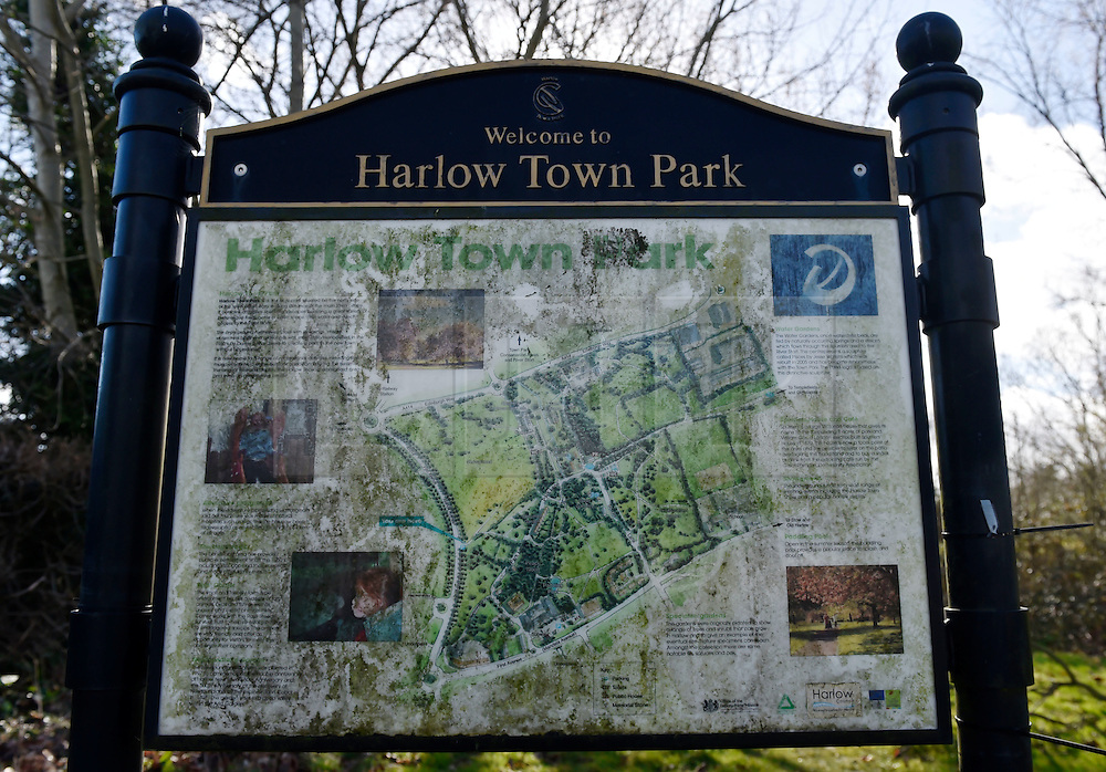 """© Licensed to London News Pictures. 27/03/2016. London, UK. A general view of Harlow Town Park where a girl died when a bouncy castle she was playing in """"blew away by some distance"""". Two people are being held on suspicion of manslaughter by gross negligence following the incident which took place in Harlow Town Park in Essex. Photo credit : Hannah McKay/LNP"""