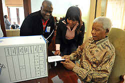 May 16, 2011 - Houghton, Johannesburg, South Africa - Former South African President NELSON MANDELA, 92, at his home in Johannesburg. Mandela, casted his vote for the local government elections at his Houghton home, with granddaughter NDILEKA MANDELA (C) and Electoral Commission official M. MSHALI (L), on Monday, ahead of the country's due date of May 18. (Credit Image: © Shao Haijun/Xinhua/ZUMAPRESS.com)