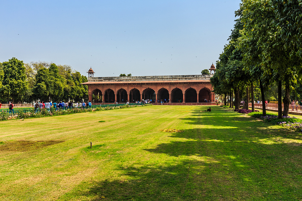 Diwan-i-Am, the Public Audience Hall,  in the Red Fort of Delhi, India. The Diwan-i-Am was where the Mughal emperor Shah Jahan (1628-1658) and his successors received members of the general public and heard their grievances.