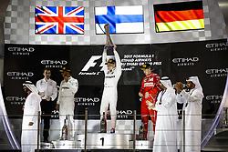 November 26, 2017 - Abu Dhabi, United Arab Emirates - Motorsports: FIA Formula One World Championship 2017, Grand Prix of Abu Dhabi, .#44 Lewis Hamilton (GBR, Mercedes AMG Petronas F1 Team), #77 Valtteri Bottas (FIN, Mercedes AMG Petronas F1 Team), #5 Sebastian Vettel (GER, Scuderia Ferrari) (Credit Image: © Hoch Zwei via ZUMA Wire)