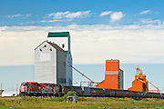 train and grain elevators<br /> Cabri<br /> Saskatchewan<br /> Canada