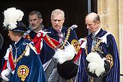 """Koning Willem Alexander wordt door Hare Majesteit Koningin Elizabeth II geïnstalleerd in de 'Most Noble Order of the Garter'. Tijdens een jaarlijkse ceremonie in St. Georgekapel, Windsor Castle, wordt hij geïnstalleerd als 'Supernumerary Knight of the Garter'.<br /> <br /> King Willem Alexander is installed by Her Majesty Queen Elizabeth II in the """"Most Noble Order of the Garter"""". During an annual ceremony in St. George's Chapel, Windsor Castle, he is installed as """"Supernumerary Knight of the Garter"""".<br /> <br /> Op de foto / On the photo: Felipe VI van Spanje / King Felipe VI from Spain"""