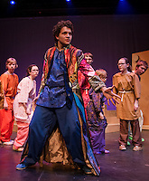 "Jack Harding as Joseph during dress rehearsal for ""Joseph and the Amazing Technicolor Dreamcoat"" at the Winnipesaukee Playhouse Thursday evening.  (Karen Bobotas/for the Laconia Daily Sun)"