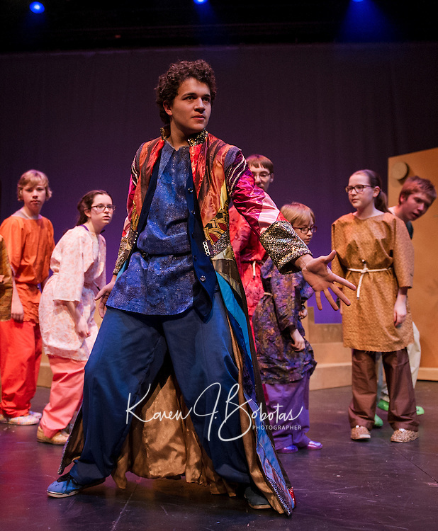 """Jack Harding as Joseph during dress rehearsal for """"Joseph and the Amazing Technicolor Dreamcoat"""" at the Winnipesaukee Playhouse Thursday evening.  (Karen Bobotas/for the Laconia Daily Sun)"""