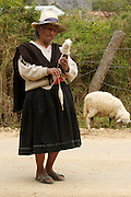 AN OLD WOMAN MAKING THREAD OF COTTON.
