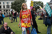 Peoples Assembly demonstration arrives in Parliament Square: No More Austerity - No To Racism - Tories Must Go, on Saturday July 16th in London, United Kingdom. Tens of thousands of people gathered to protest in a march through the capital protesting against the Conservative Party cuts. Almost 150 Councillors from across the country have signed a letter criticising the Government for funding cuts and and will be joining those marching in London. The letter followed the recent budget in which the Government laid out plans to cut support for disabled people while offering tax breaks for big business and the wealthy. (photo by Mike Kemp/In Pictures via Getty Images)