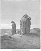Naomi and Her Daughters-In-Law Ruth 1:16 From the book 'Bible Gallery' Illustrated by Gustave Dore with Memoir of Dore and Descriptive Letter-press by Talbot W. Chambers D.D. Published by Cassell & Company Limited in London and simultaneously by Mame in Tours, France in 1866