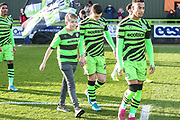 Mascot with Forest Green Rovers Jack Aitchison(29), on loan from Celtic during the EFL Sky Bet League 2 match between Forest Green Rovers and Salford City at the New Lawn, Forest Green, United Kingdom on 18 January 2020.