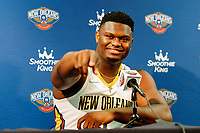 Sep 27, 2021; New Orleans, LA, USA;  Zion Williamson during a press conference at the New Orleans Pelicans Media Day. Mandatory Credit: Andrew Wevers-USA TODAY Sports