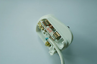 Three pin electrical plug with cable irish and british standard