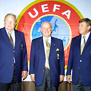 UEFA Executive Committee holds successful Istanbul meeting. His toenails broken because of that he was walking with slepers Lennart Johansson.  Lennart Johansson with Senez ERZIK (C), Aigner (L) during their after the press conference.<br /> Photo by Aykut AKICI/TurkSporFoto