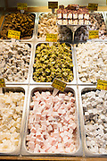 Traditional sweetsmeats Turkish Delight, Lokum, in Misir Carsisi Egyptian Bazaar food and spice market, Istanbul, Turkey
