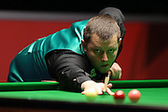 Mark Allen of Northern Ireland in action during his 1st round match against Sydney Wilson of England .  Coral Welsh Open Snooker 2017, day 2 at the Motorpoint Arena in Cardiff, South Wales on Tuesday 14th February 2017.<br /> pic by Andrew Orchard, Andrew Orchard sports photography.