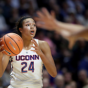 UNCASVILLE, CONNECTICUT- DECEMBER 19:  Napheesa Collier #24 of the Connecticut Huskies in action during the Naismith Basketball Hall of Fame Holiday Showcase game between the UConn Huskies Vs Oklahoma Sooners, NCAA Women's Basketball game at the Mohegan Sun Arena, Uncasville, Connecticut. December 19, 2017 (Photo by Tim Clayton/Corbis via Getty Images)